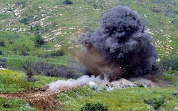 rus sülhməramlıları daşıyan yük maşını minaya düşüb