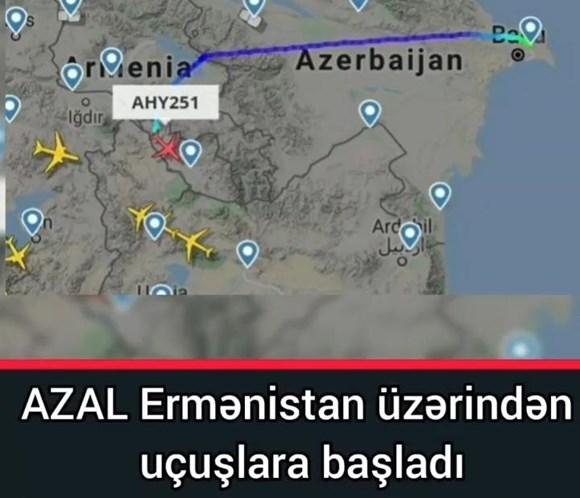 AZAL Ermənistanın hava məkanından istifadə etməyə başlayıb